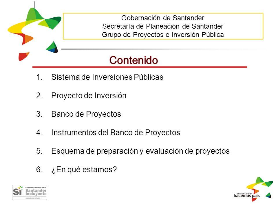 Contenido Sistema de Inversiones Públicas Proyecto de Inversión