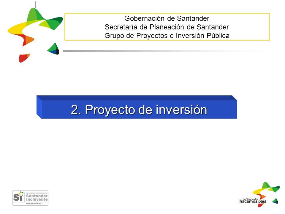 Gobernación de Santander Secretaría de Planeación de Santander Grupo de Proyectos e Inversión Pública