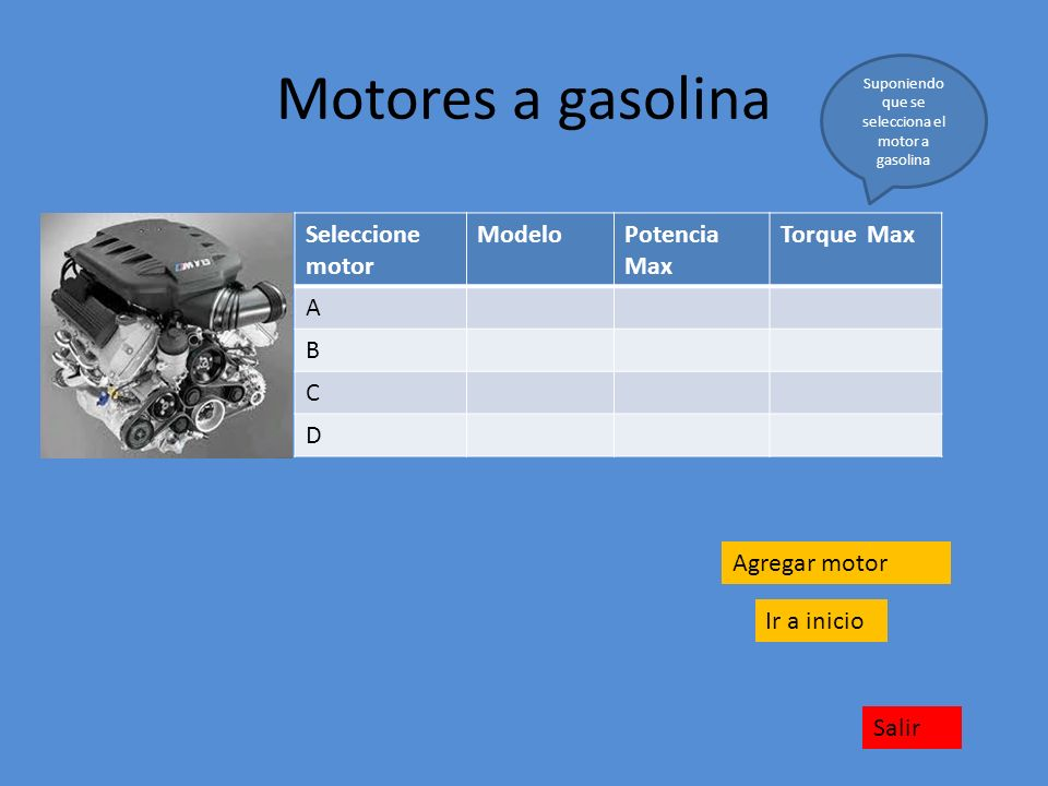 Suponiendo que se selecciona el motor a gasolina