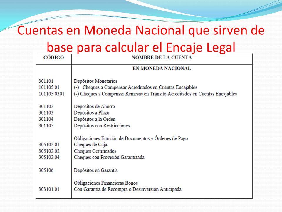 Cuentas en Moneda Nacional que sirven de base para calcular el Encaje Legal