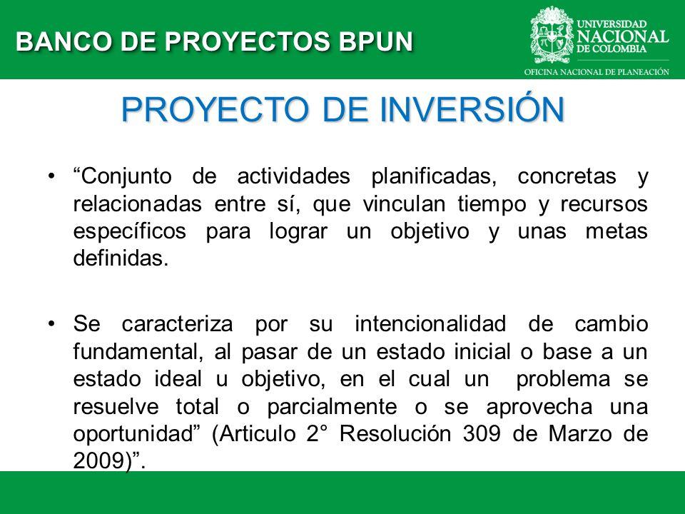 PROYECTO DE INVERSIÓN BANCO DE PROYECTOS BPUN