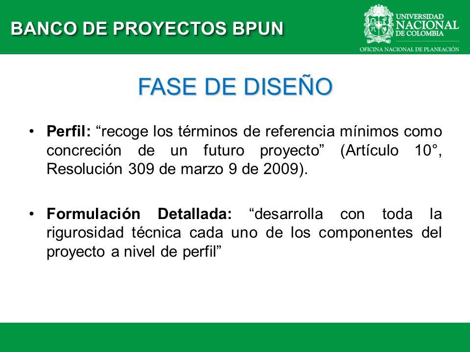 FASE DE DISEÑO BANCO DE PROYECTOS BPUN