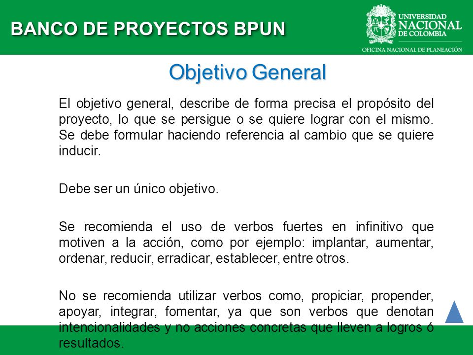 Objetivo General BANCO DE PROYECTOS BPUN