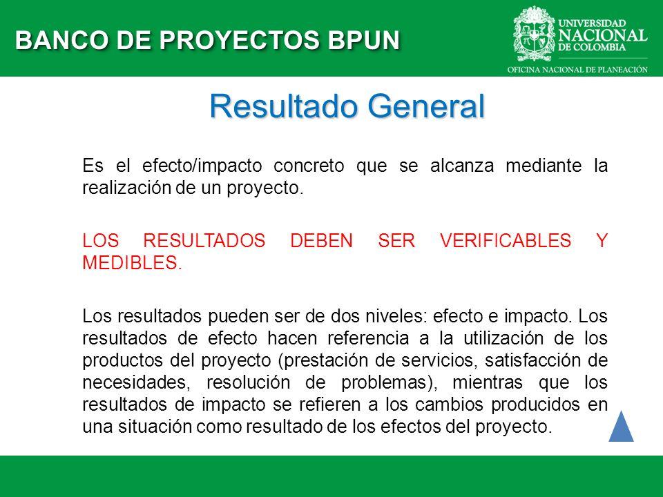 Resultado General BANCO DE PROYECTOS BPUN
