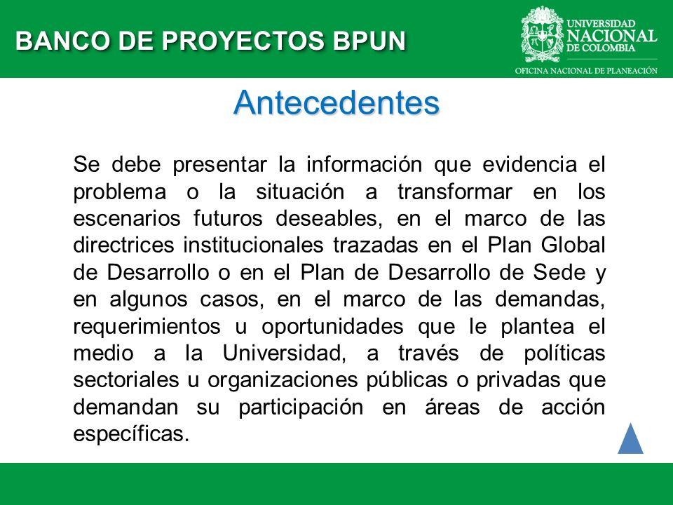 Antecedentes BANCO DE PROYECTOS BPUN