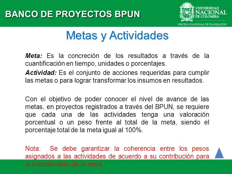 Metas y Actividades BANCO DE PROYECTOS BPUN