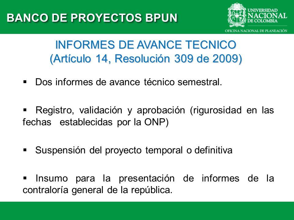 BANCO DE PROYECTOS BPUN