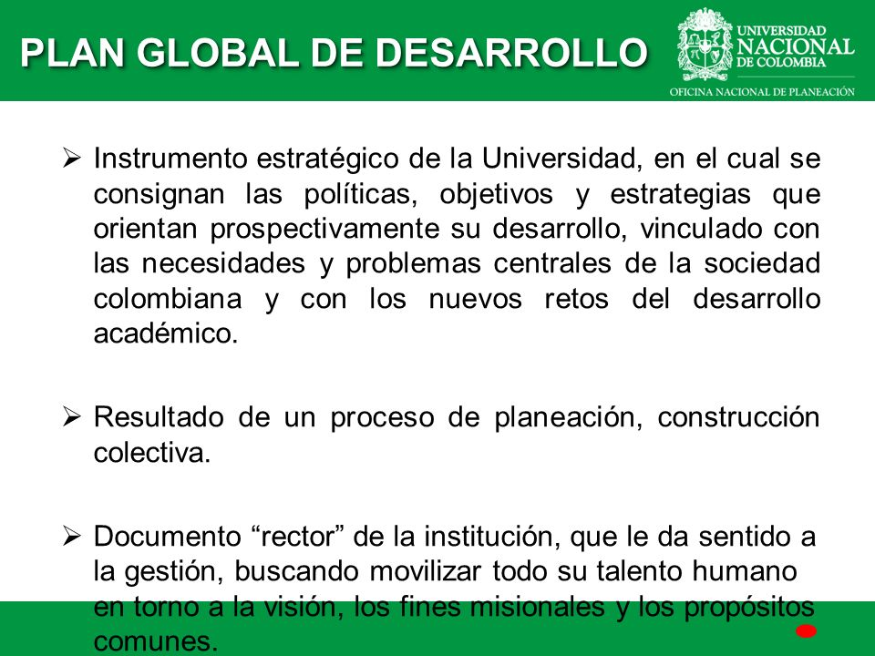 PLAN GLOBAL DE DESARROLLO