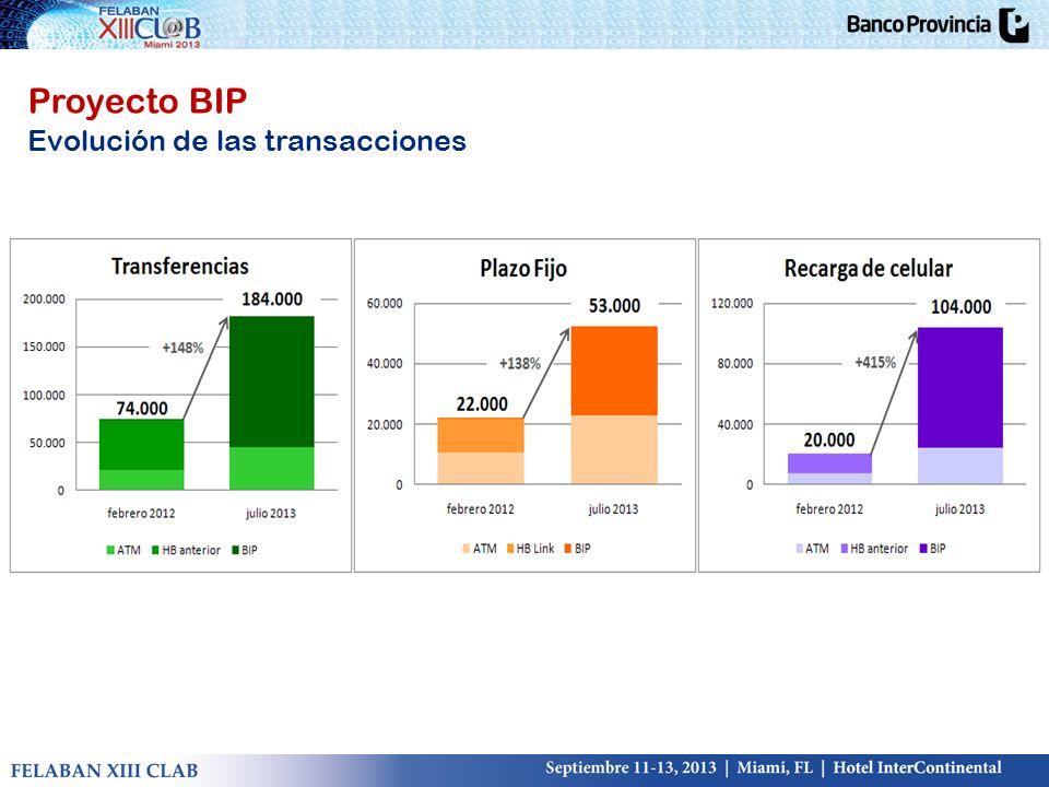 Proyecto BIP Evolución de las transacciones