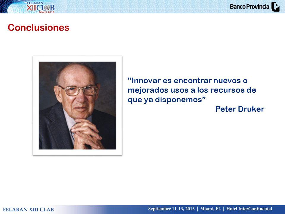 Conclusiones Innovar es encontrar nuevos o mejorados usos a los recursos de que ya disponemos Peter Druker.