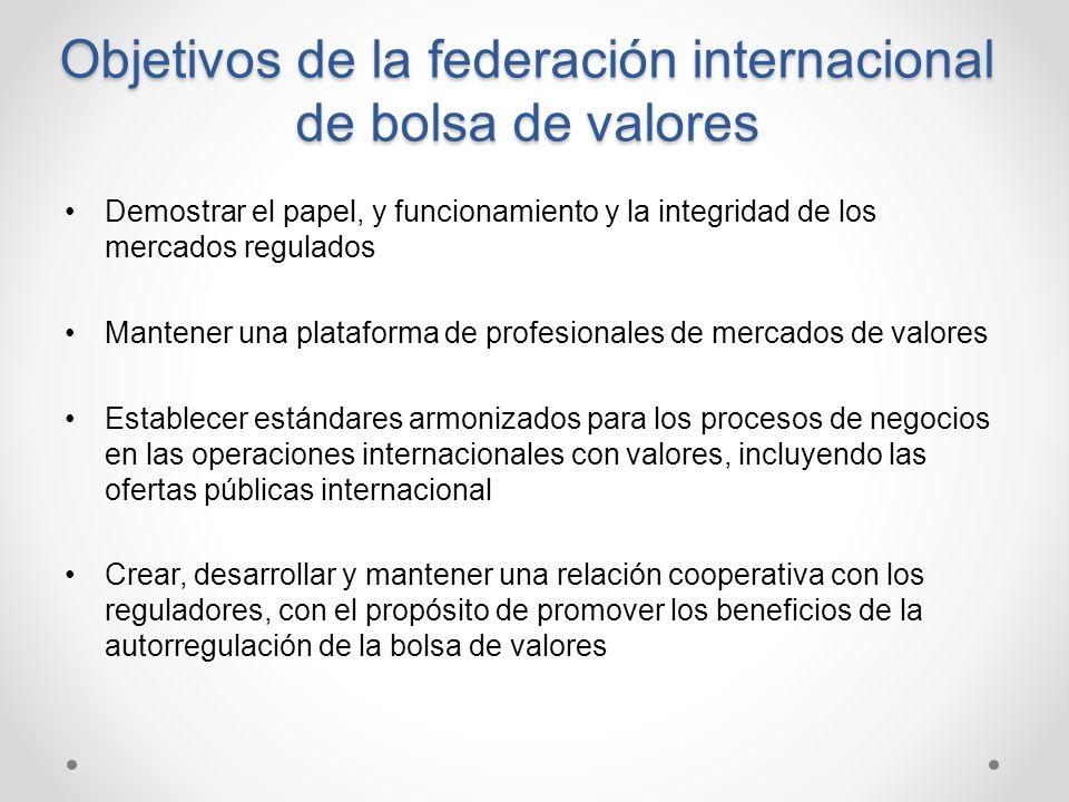Objetivos de la federación internacional de bolsa de valores