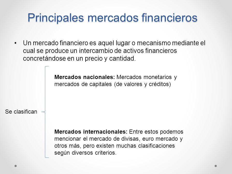 Principales mercados financieros