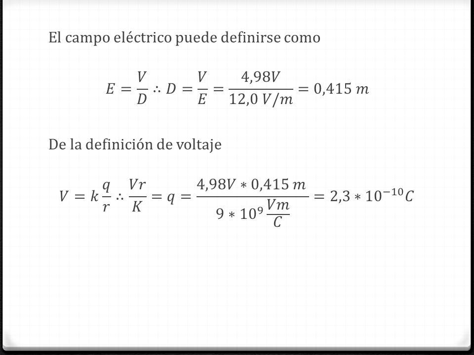 El campo eléctrico puede definirse como 𝐸= 𝑉 𝐷 ∴𝐷= 𝑉 𝐸 = 4,98𝑉 12,0 𝑉/𝑚 =0,415 𝑚 De la definición de voltaje 𝑉=𝑘 𝑞 𝑟 ∴ 𝑉𝑟 𝐾 =𝑞= 4,98𝑉∗0,415 𝑚 9∗ 10 9 𝑉𝑚 𝐶 =2,3∗ 10 −10 𝐶