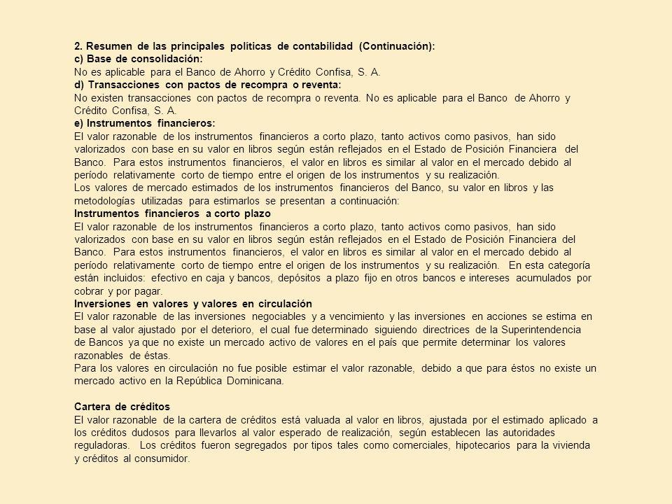 2. Resumen de las principales políticas de contabilidad (Continuación):