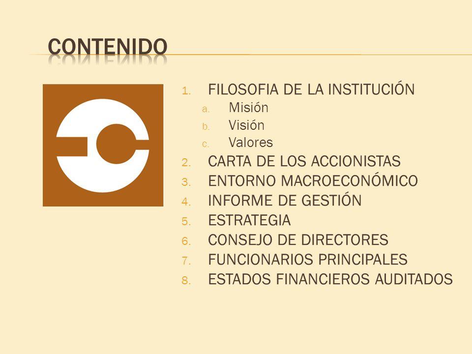 Contenido FILOSOFIA DE LA INSTITUCIÓN CARTA DE LOS ACCIONISTAS