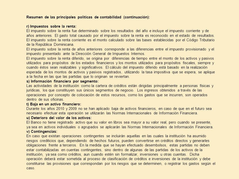 Resumen de las principales políticas de contabilidad (continuación):