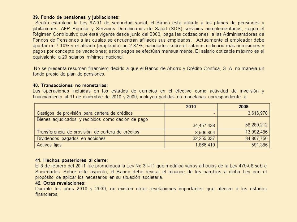 39. Fondo de pensiones y jubilaciones: