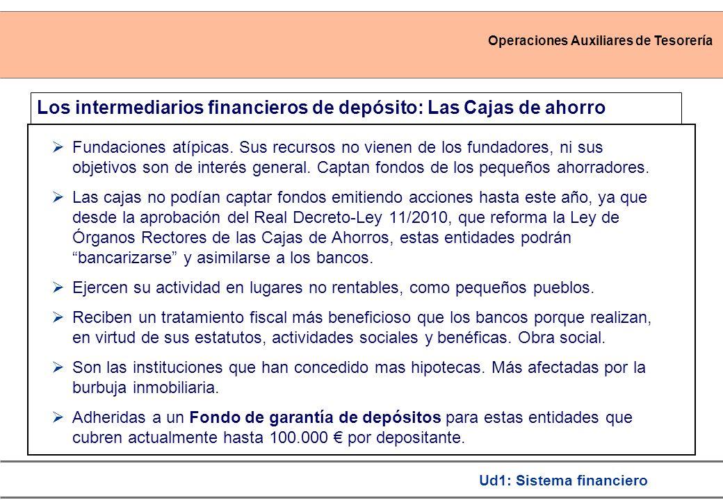 Los intermediarios financieros de depósito: Las Cajas de ahorro