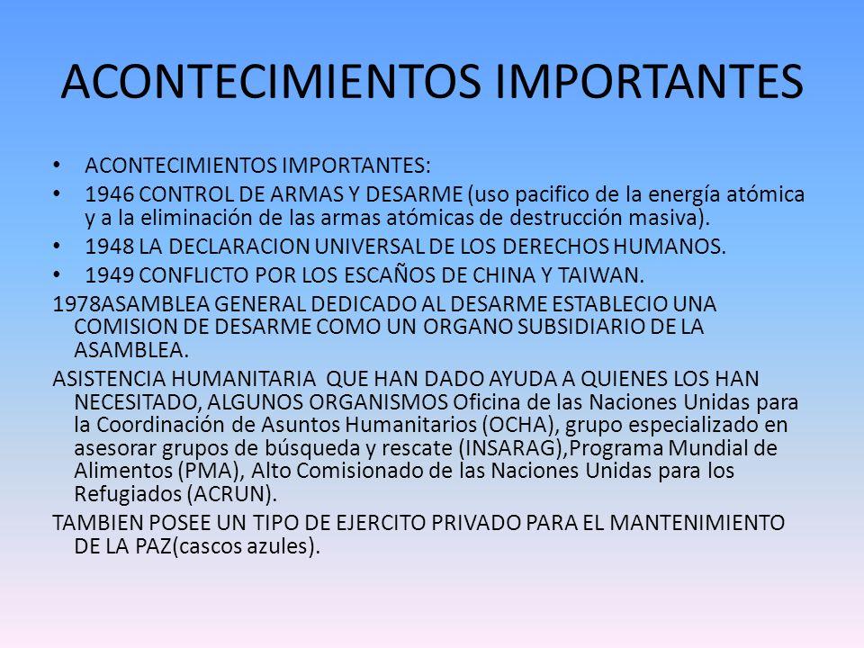 ACONTECIMIENTOS IMPORTANTES