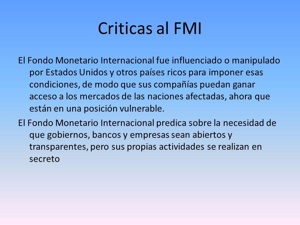 Criticas al FMI