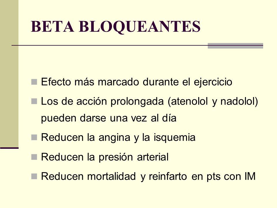 BETA BLOQUEANTES Efecto más marcado durante el ejercicio