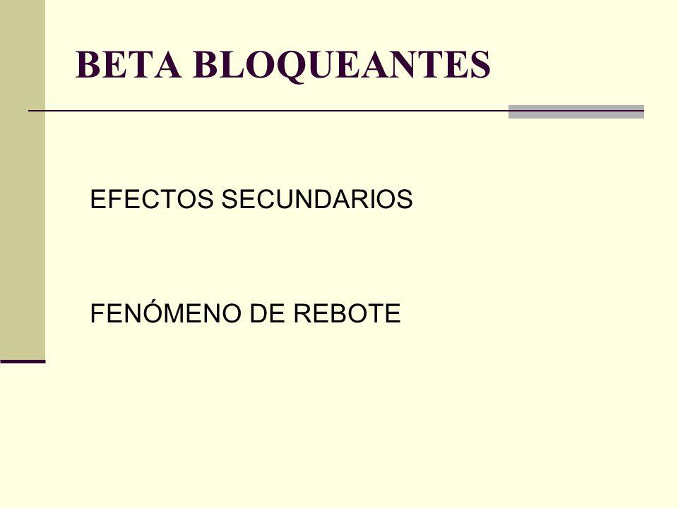 BETA BLOQUEANTES EFECTOS SECUNDARIOS FENÓMENO DE REBOTE