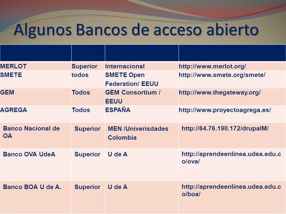 Algunos Bancos de acceso abierto