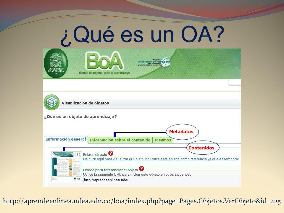 ¿Qué es un OA http://aprendeenlinea.udea.edu.co/boa/index.php page=Pages.Objetos.VerObjeto&id=225