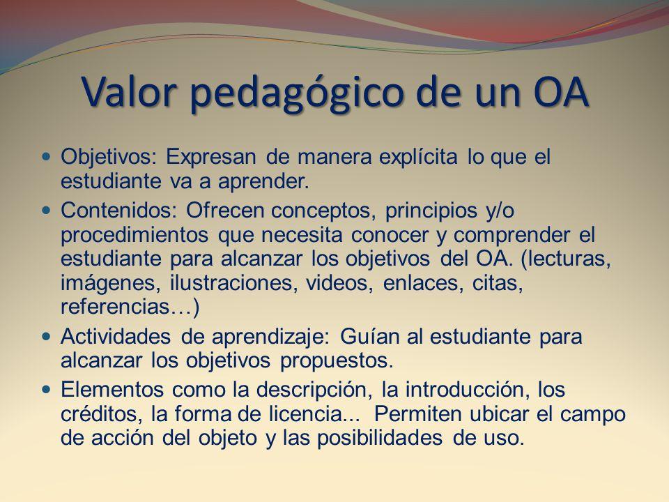 Valor pedagógico de un OA