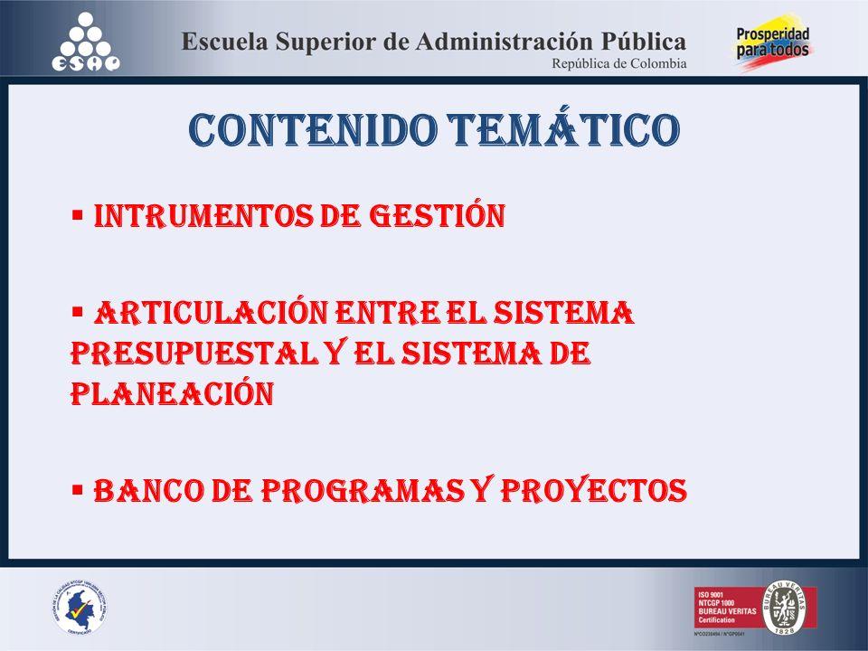 CONTENIDO TEMÁTICO INTRUMENTOS DE GESTIÓN