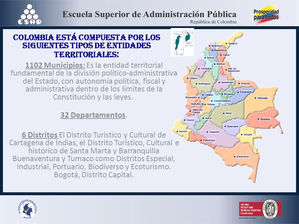 Colombia está compuesta por los siguientes tipos de entidades territoriales: