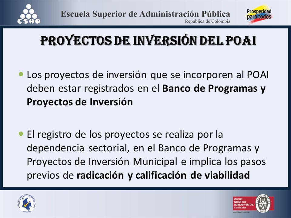 Proyectos de Inversión del POAI