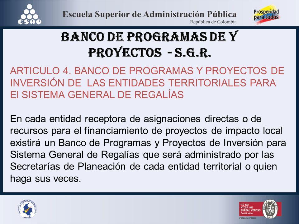 BANCO DE PROGRAMAS DE Y PROYECTOS - S.G.R.