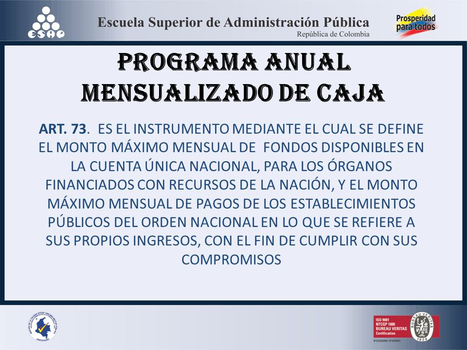 PROGRAMA ANUAL MENSUALIZADO DE CAJA