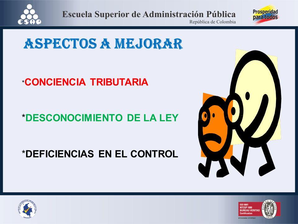 ASPECTOS A MEJORAR *DESCONOCIMIENTO DE LA LEY