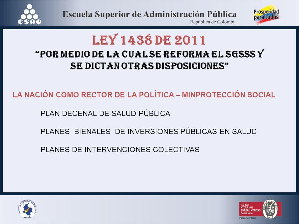 LEY 1438 DE 2011 POR MEDIO DE LA CUAL SE REFORMA EL SGSSS Y SE DICTAN OTRAS DISPOSICIONES