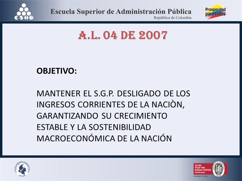 A.L. 04 DE 2007 OBJETIVO: