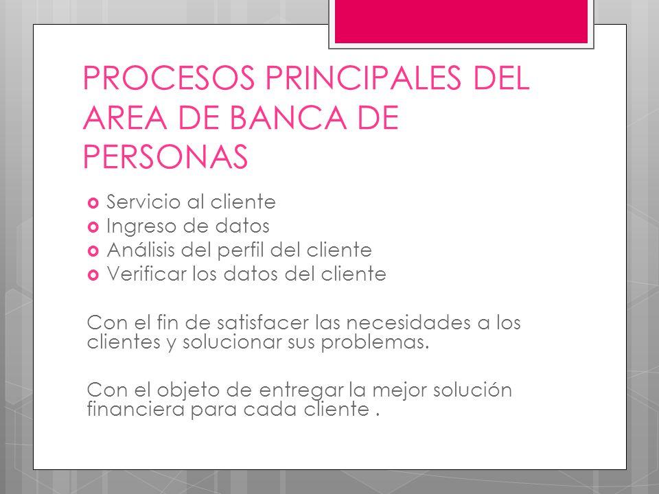 PROCESOS PRINCIPALES DEL AREA DE BANCA DE PERSONAS