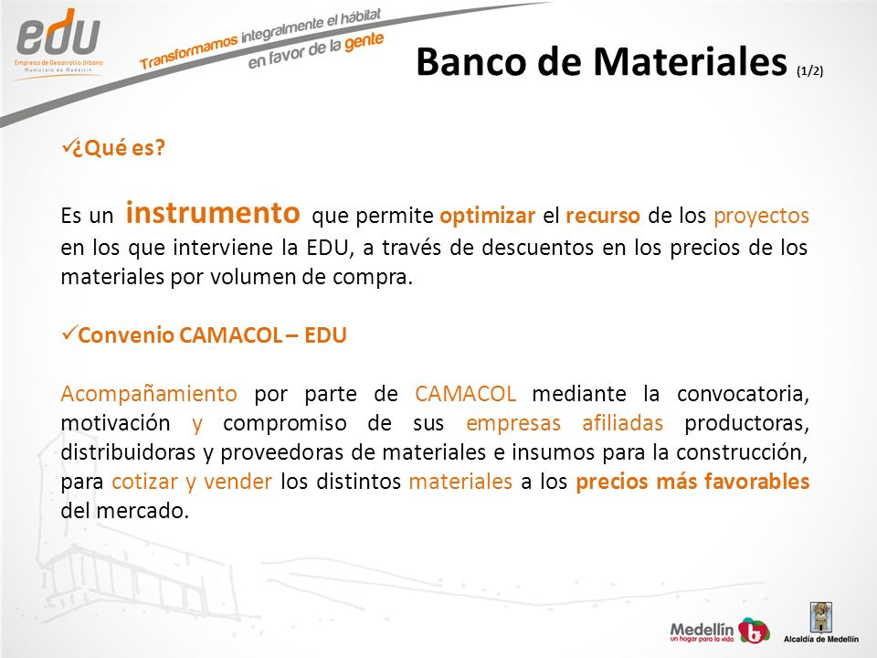 Banco de Materiales (1/2)