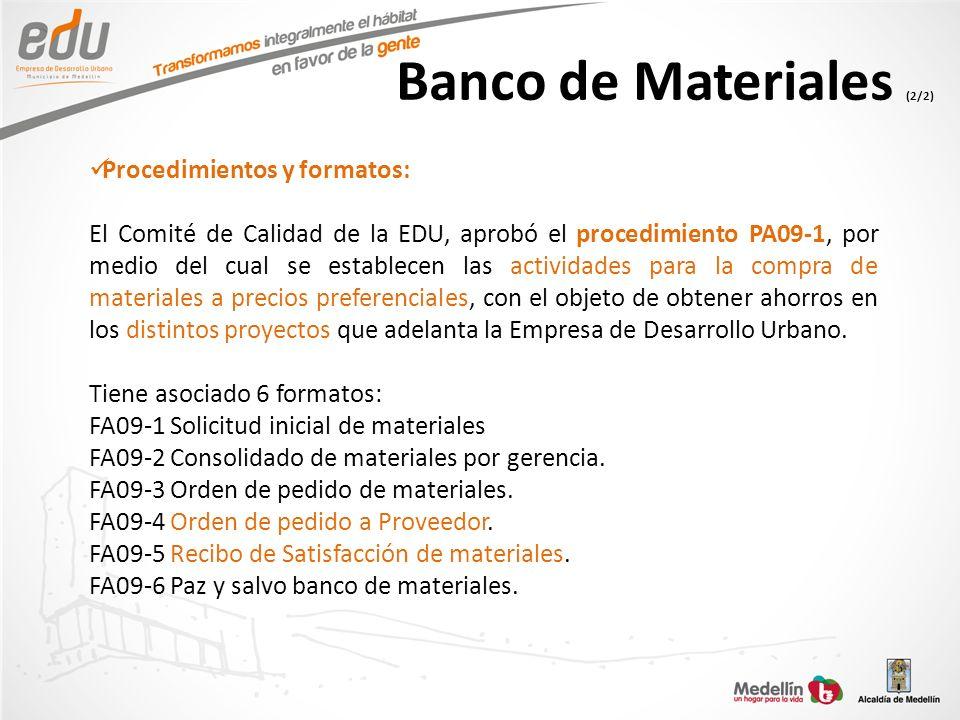 Banco de Materiales (2/2)