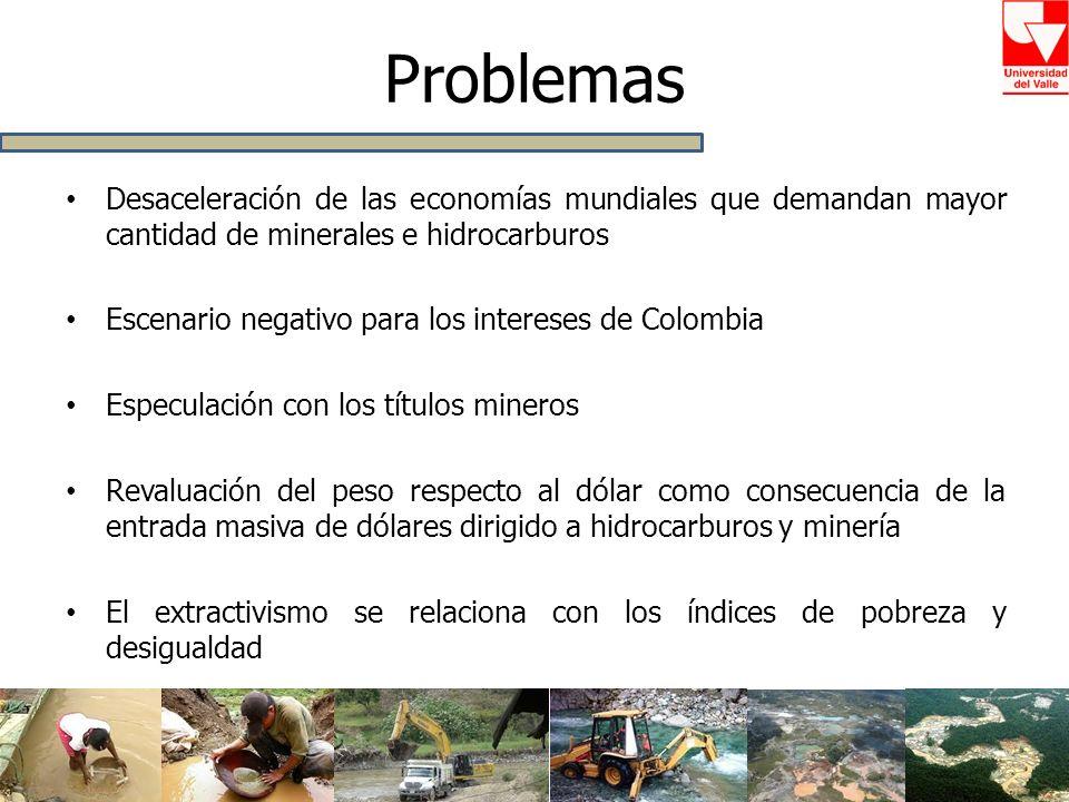 Problemas Desaceleración de las economías mundiales que demandan mayor cantidad de minerales e hidrocarburos.