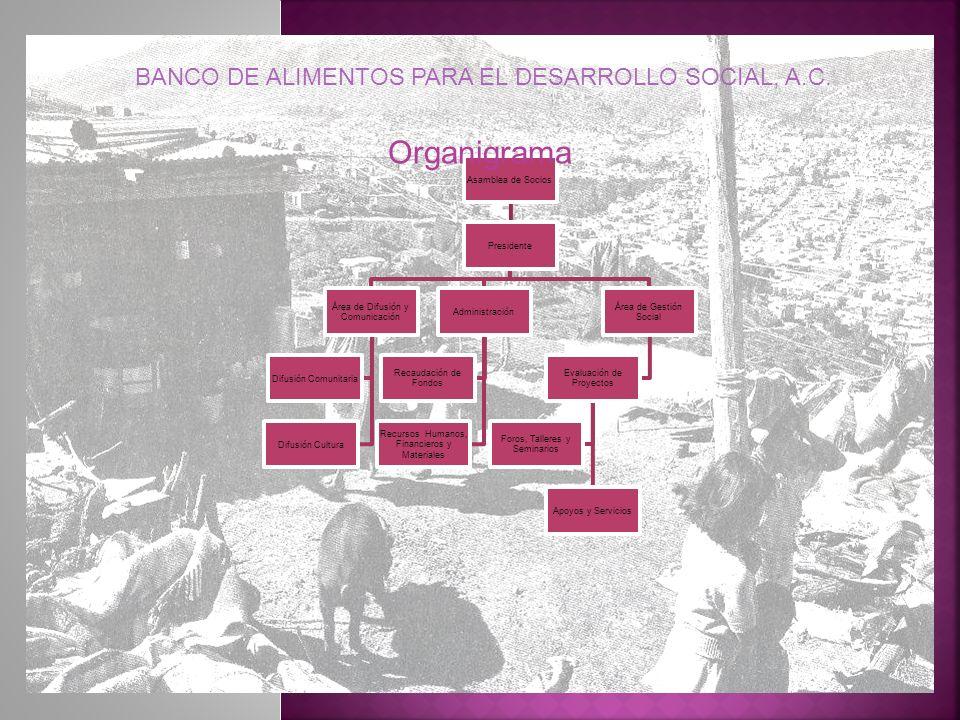 Organigrama BANCO DE ALIMENTOS PARA EL DESARROLLO SOCIAL, A.C.