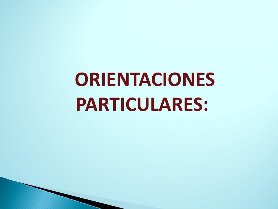 ORIENTACIONES PARTICULARES:
