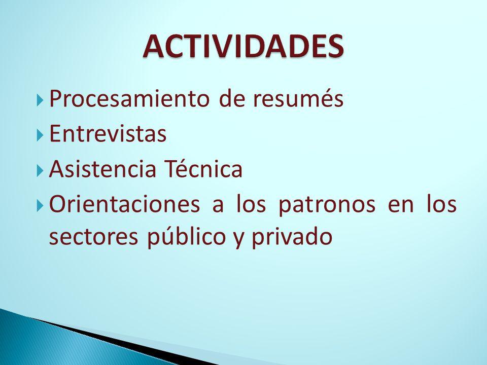 ACTIVIDADES Procesamiento de resumés Entrevistas Asistencia Técnica