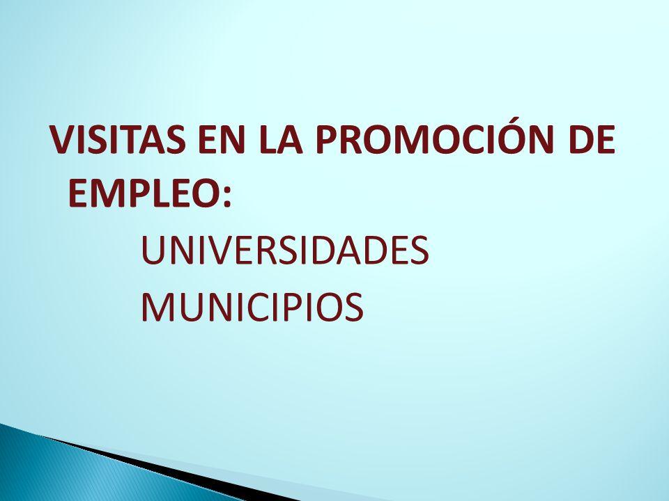 VISITAS EN LA PROMOCIÓN DE EMPLEO: UNIVERSIDADES MUNICIPIOS