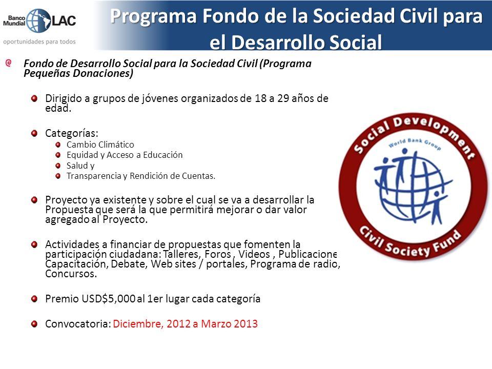 Programa Fondo de la Sociedad Civil para el Desarrollo Social