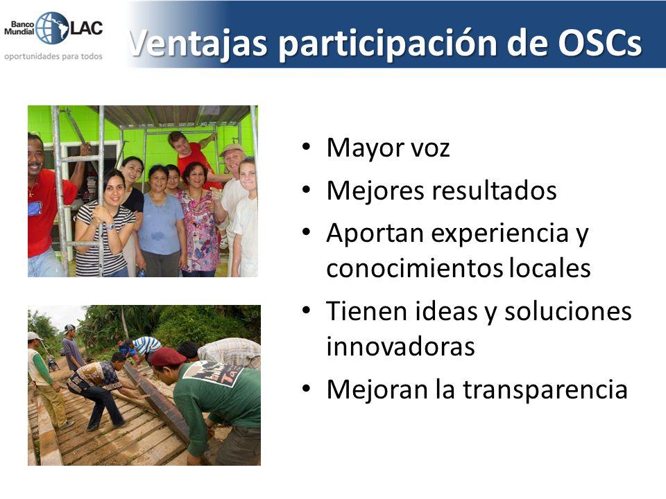 Ventajas participación de OSCs