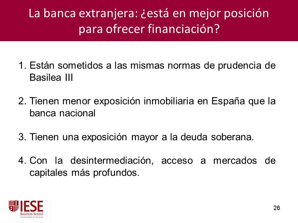 La banca extranjera: ¿está en mejor posición para ofrecer financiación