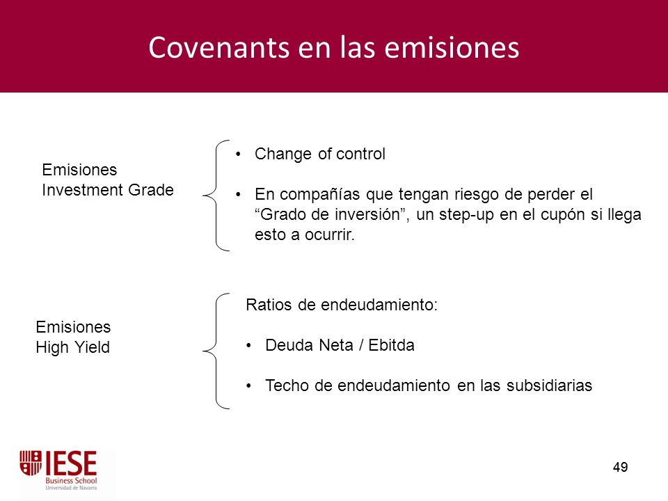 Covenants en las emisiones