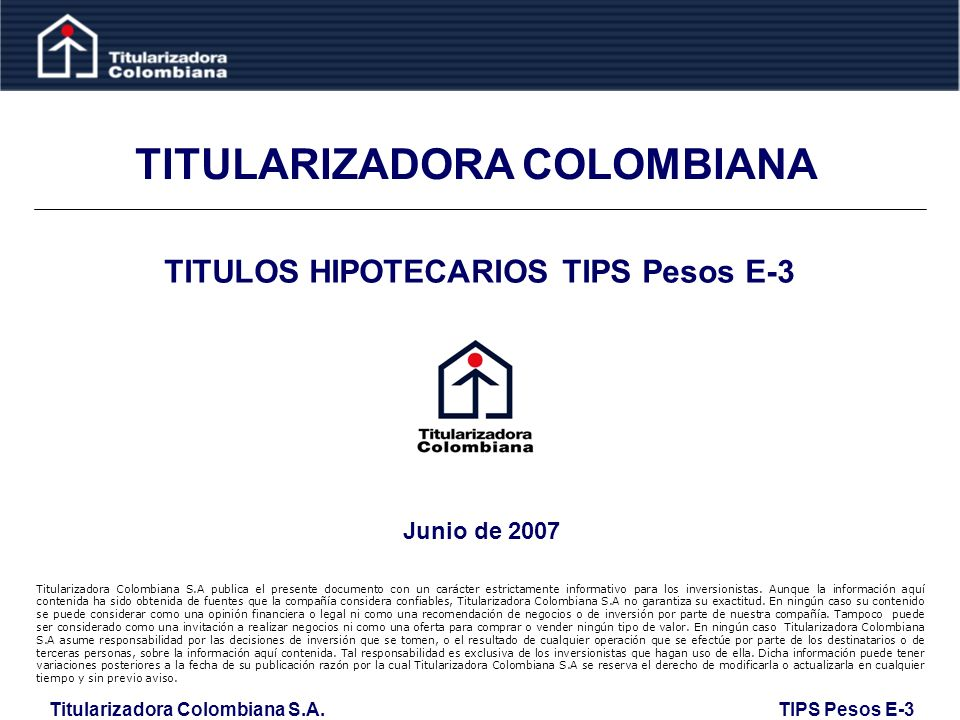 TITULARIZADORA COLOMBIANA TITULOS HIPOTECARIOS TIPS Pesos E-3